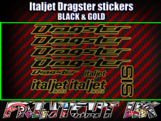 Italjet Dragster Decals Stickers GOLD & BLACK 9 piece set 50 70 125 172 180